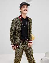 Asos Knitted Lurex Track Jacket In Leopard Design