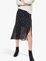 Oasis Patched Spot Print Midi Skirt, Black/White