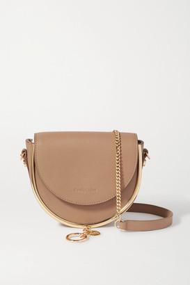 See by Chloe Mara Embellished Textured-leather Shoulder Bag - Light brown