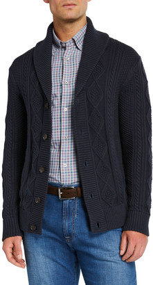 Neiman Marcus Men's Organic Cotton Cable-Knit Cardigan Sweater