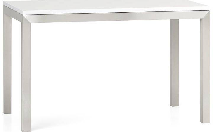 Crate & Barrel Parsons White Top/ Stainless Steel Base 60x36 Dining Table