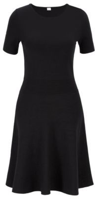 BOSS Two-tone jacquard-knit dress with structured waistband