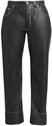 Loewe High-Rise Wide-Leg Leather Trousers