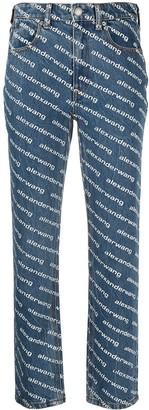 Alexander Wang High-Rise Logo-Print Straight-Leg Jeans