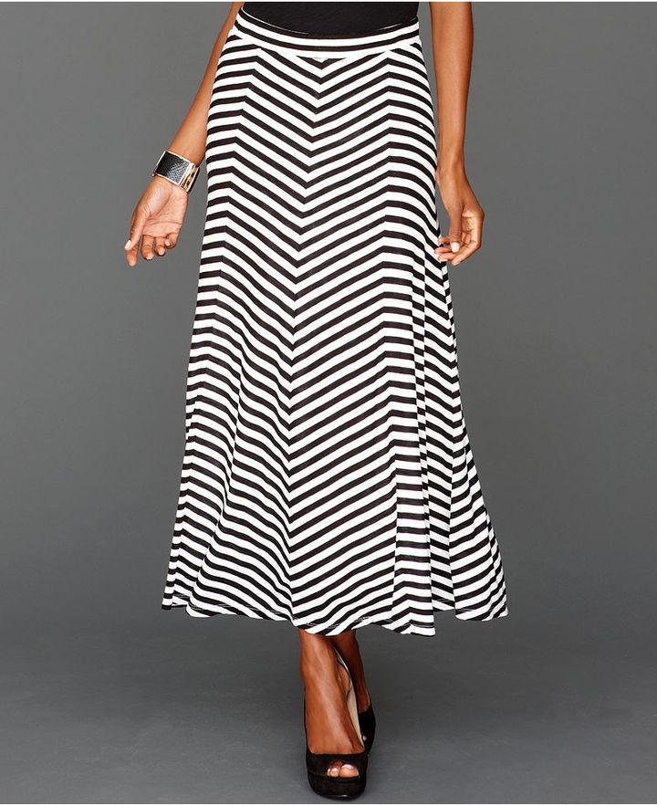INC International Concepts Skirt, Paneled Chevron-Striped Maxi