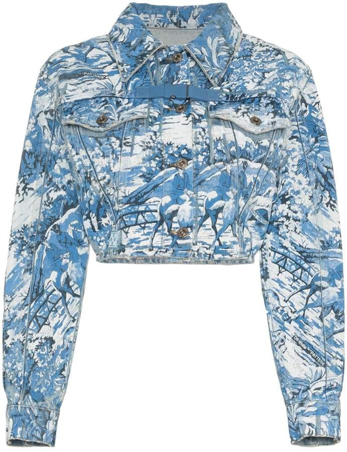 Off-White tapestry cropped denim jacket