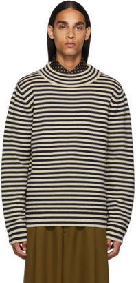 Dries Van Noten Navy and Off-White Wool Sweater