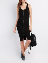 Charlotte Russe Ribbed Snap-Front Midi Dress