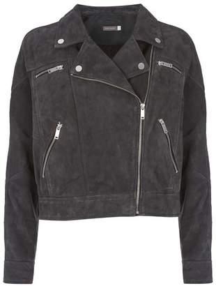 Mint Velvet Grey Suede Biker Jacket