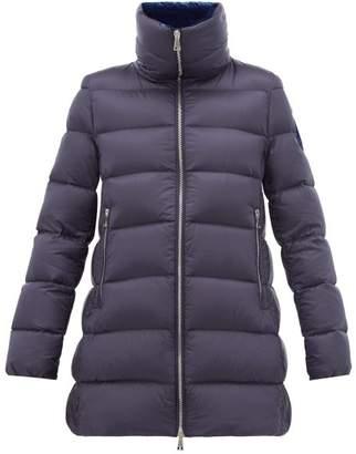 Moncler Torcon Velvet-lined Quilted-down Coat - Womens - Dark Blue