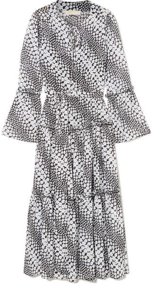 MICHAEL Michael Kors Tiered Floral-print Georgette Midi Dress