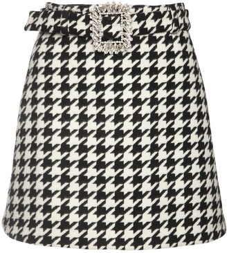 Giuseppe di Morabito Wool Blend Mini Skirt W/ Jewel Buckle