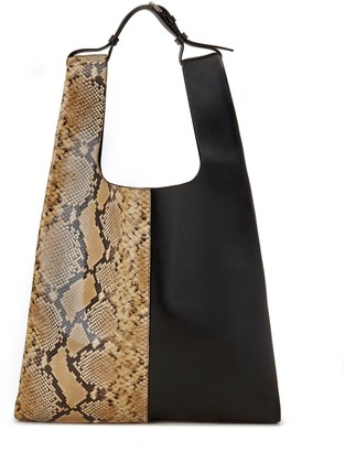 Mulberry Oversized Portobello Tote Sable and Black Python Printed Leather and Silky Calf