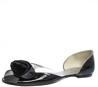 Roger Vivier Black Patent Leather Rose N'Roll Peep Toe Ballet Flat Size 39