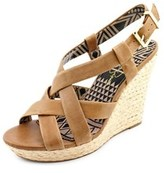 Jessica Simpson Catalina Women Open Toe Synthetic Tan Wedge Sandal.