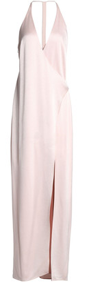 Halston Wrap-effect Satin-crepe Gown