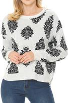 Shamaim Women's Pullover Sweaters WHITE/BLACK - White & Black Abstract Boxy Sweater - Women