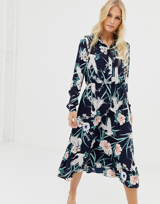 Liquorish bird and floral print midi shirt dress-Navy