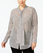 MICHAEL Michael Kors Size Side-Tie Printed Blouse