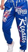 jeansian Men's Alphabet Printed Sport DrawString Baggy Long Pants Sweatpants S435 RoyalBlue L