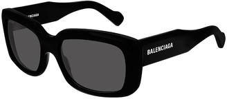 Balenciaga Square Acetate Logo Sunglasses