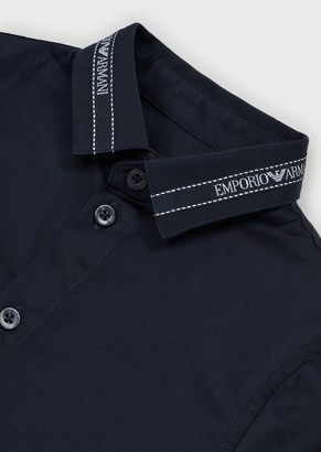 Emporio Armani Stretch Shirt With Logo Collar