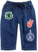 Kenzo Fleece Patchwork Denim Pants, Blue, Size 12-18M