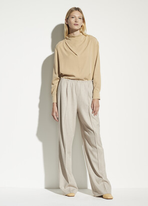 Vince Wool Flannel Wide Leg Pull On Pant