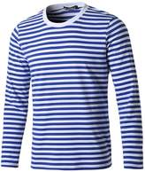 uxcell Allegra K Men Crew Neck Long Sleeves Striped T-shirt XL