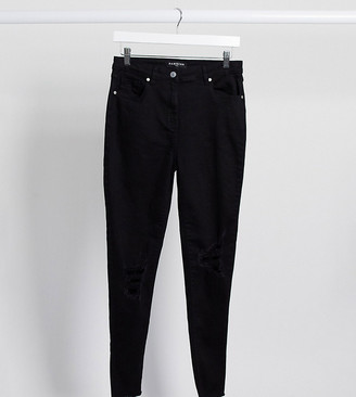 Parisian Tall skinny jeans with ripped knee in black