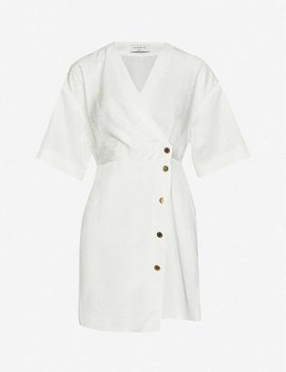 Sandro Harpie wrap-over jacquard mini dress