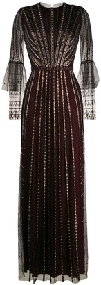 Temperley London Beaded Flared Evening Dress