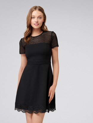 Forever New Darcey Lace Double Tier Ponte Dress - Black - 6
