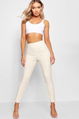 boohoo High Waist Gingham Check Split Skinny Trouser