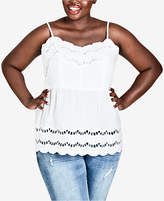City Chic Trendy Plus Size Cotton Empire-Waist Top