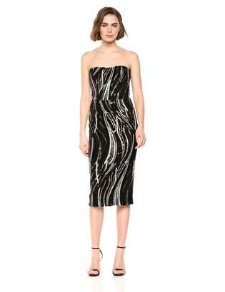 Dress the Population Women's Claire Strapless Sequin MIDI Sheath Dress