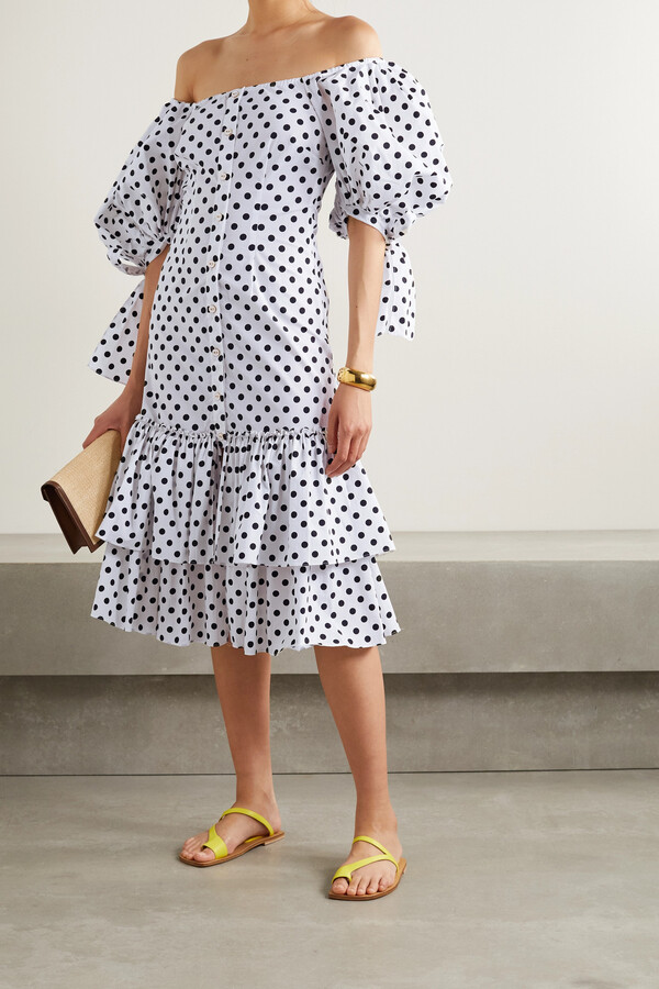 Caroline Constas Nella Off-the-shoulder Ruffled Polka-dot Cotton-blend Poplin Midi Dress - White