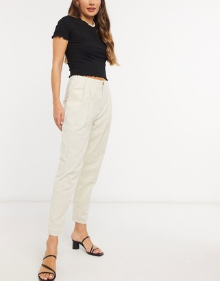 In The Style x Lorna Luxe pleated volume trouser in cream