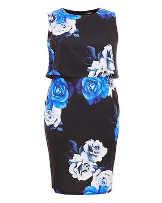 Quiz Curve Quiz Floral Midi Dress