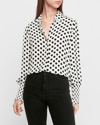 Express Polka Dot Smocked Cuff Shirt