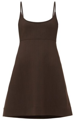 Ganni Tie-back Prince Of Wales-check Jersey Mini Dress - Dark Brown