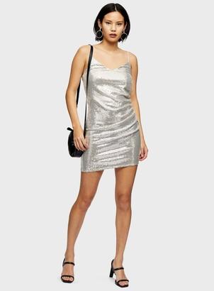Miss Selfridge Gold Sequin Slip Dress