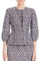 Oscar de la Renta Bubble Sleeve Diamond Print Jacket