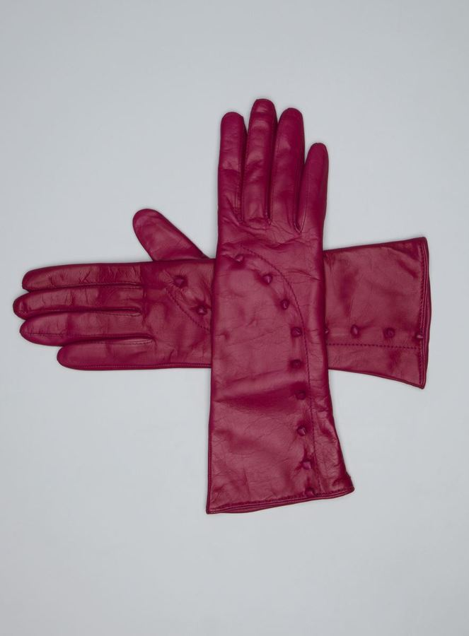 Portolano Knotted Leather Detail Cashmere Lined Leather Gloves