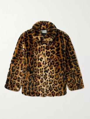 Wacko Maria Leopard-Print Faux-Fur Coat