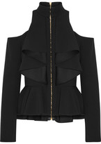 Balmain Cutout Ruffled Crepe Peplum Top - Black