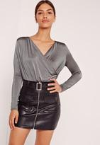 Missguided Slinky Wrap Drape Neck Bodysuit Grey