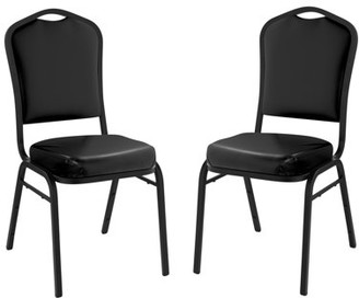National Public Seating (Pack of 2) NPS 9300 Series Deluxe Vinyl Upholstered Stack Chair, Panther Black