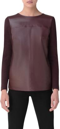 Akris Leather, Cashmere & Silk Top