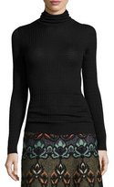 M Missoni Solid Waffle-Knit Wool-Blend Turtleneck, Black